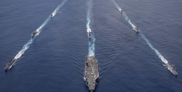 رزمایش کشتیهای جنگی هند با ناو گروه آمریکایی در اقیانوس هند