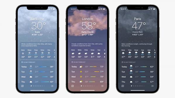 اپل نسخه بازطراحی شده ای از اپلیکیشن Weather آی او اس با پس زمینه ها، نقشه ها و اطلاعات جذاب رونمایی کرد