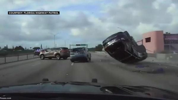 تصادف خودرو پس از تعقیب و گریز خطرناک پلیس